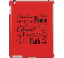 Belive, peace, noel family, christmas quote iPad Case/Skin
