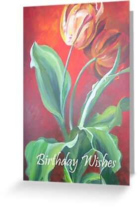 Birthday Wishes Red and Yellow Tulips by taiche
