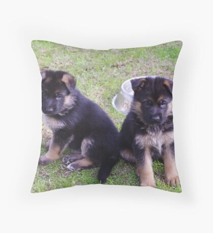 2 pups  Throw Pillow