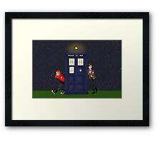 Amy Pond, the Doctor, and the TARDIS Framed Print