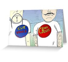 China vs Europe push buttons Greeting Card