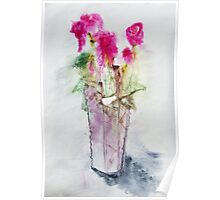 Red flowers in vase Poster