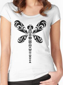 Tribal Dragonfly Tattoo Women's Fitted Scoop T-Shirt