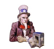 Uncle Sam with Empty Treasury Photographic Print