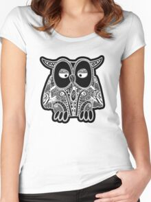 doodle owl Women's Fitted Scoop T-Shirt