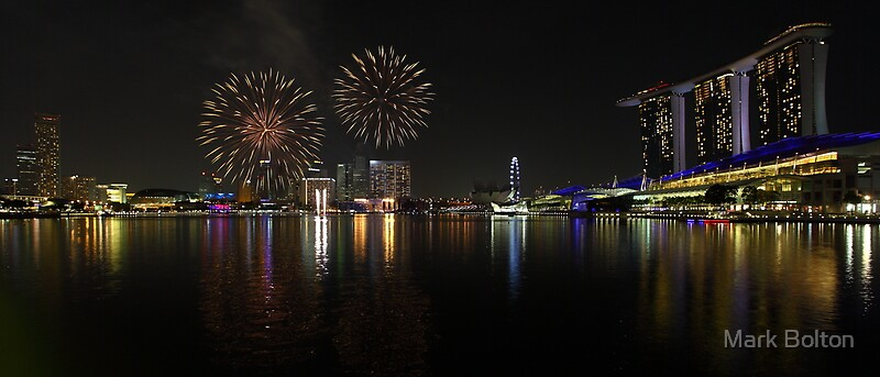 Singapore Marina Bay Sands Building and National Day Fireworks
