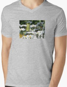 A Garden of White Daisy Flowers Mens V-Neck T-Shirt