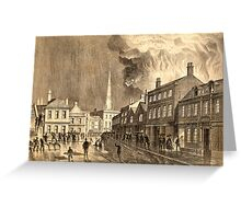 Historic lithograph of a mill fire in Trowbridge, 1862 Greeting Card