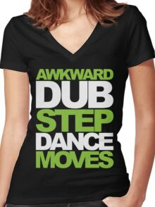 Awkward Dubstep Dance Moves (neon/white) Women's Fitted V-Neck T-Shirt