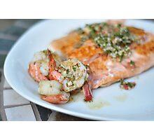 Salmon along with garlic & herb shrimp Photographic Print