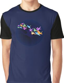 Crane and moon Graphic T-Shirt