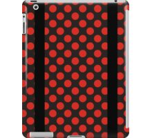 Red Polkadots on  Black with Black Srtipes iPad Case/Skin