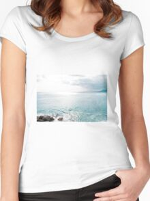 Blue Sea and sky background Women's Fitted Scoop T-Shirt