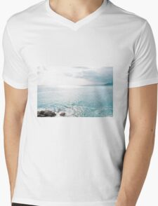 Blue Sea and sky background Mens V-Neck T-Shirt