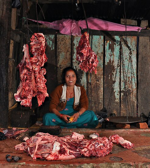 Nepalese butcher by Peter Hammer