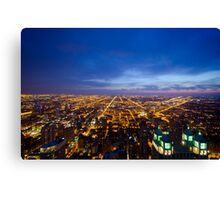 Chicago Cityscape West at Night Canvas Print