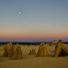 Sunrise and Dawn Moonset at the Pinnacles by Sandra Chung