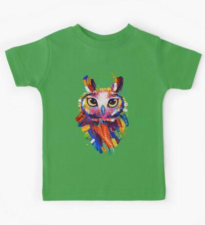 Owl - Black Background Kids Tee
