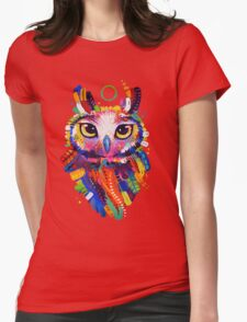 Owl - Black Background Womens Fitted T-Shirt