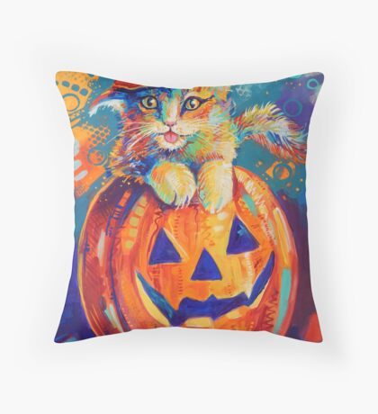 Pumpkin Cat Throw Pillow
