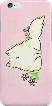 Fluffy Kitty Cat with Pink Flowers by zoel