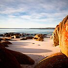 Winter Sunrise, Bay Of Fires, Tasmania by David Jamrozik