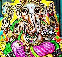 Melbourne Graffiti Street Art Ganesh Elephant Neon Colours by NicNik Designs