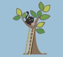 Cute kawaii cat in tree with cupcake by BigMRanch