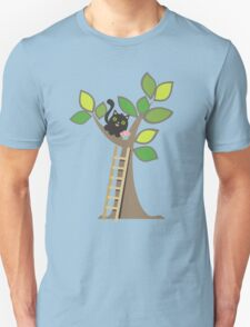 Cute kawaii cat in tree with cupcake Unisex T-Shirt