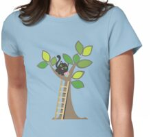 Cute kawaii cat in tree with cupcake Womens Fitted T-Shirt