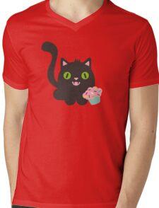 Cute kawaii kitty cat with cupcake Mens V-Neck T-Shirt