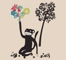 Funny monkey with flower bouquet by BigMRanch