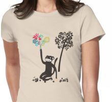 Funny monkey with flower bouquet Womens Fitted T-Shirt
