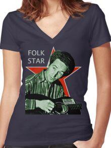 Woody Guthrie, Folk Star (Lg) Women's Fitted V-Neck T-Shirt