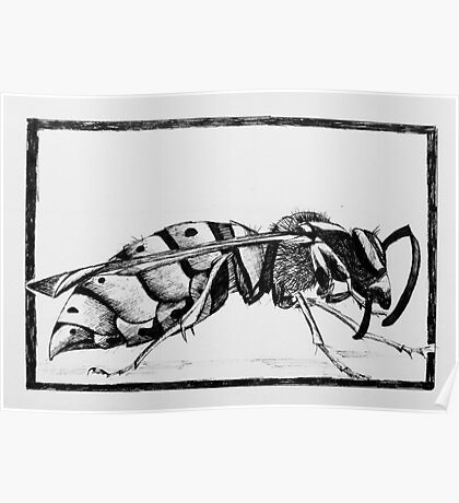 Design for wasp lino print Poster