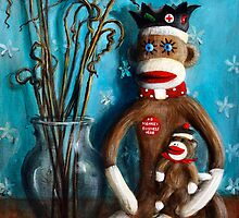 Sock Monkey Still Life with Twigs. by Randy Burns aka Wiles Henly