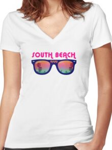 South Beach Miami Women's Fitted V-Neck T-Shirt