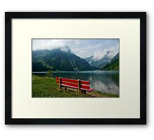Red bench with a view Framed Print