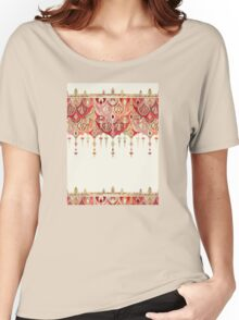 Royal Red Art Deco Double Drop Women's Relaxed Fit T-Shirt
