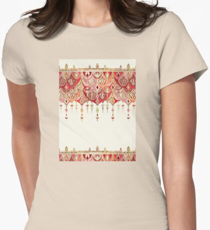 Royal Red Art Deco Double Drop Womens Fitted T-Shirt