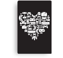 Controller Lover (White on Black) Canvas Print