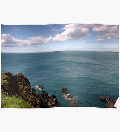 Seascape with Land Poster