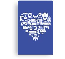 Controller Love (White on Blue) Canvas Print