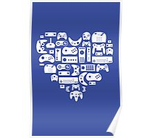 Controller Love (White on Blue) Poster