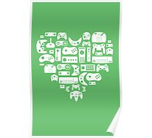 Controller Love (White on Green) Poster