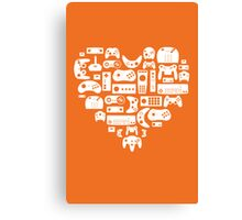Controller Love (White on Orange) Canvas Print