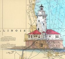 Chicago Harbor Lighthouse IL Chart Cathy Peek by Cathy Peek