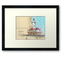 Chicago Harbor Lighthouse IL Chart Cathy Peek Framed Print