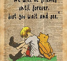 Winnie The Pooh Friendship Forever Vintage Dictionary Art by DictionaryArt