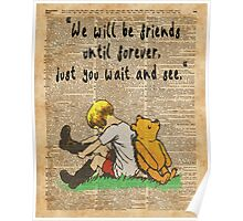 Winnie The Pooh Friendship Forever Vintage Dictionary Art Poster